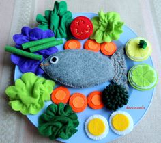 Your place to buy and sell all things handmade Felt Food Felt Fish Felt Vegetables Felt Fruits Eco by decocarin Felt Crafts Diy, Crafts For Kids, Felt Fruit, Felt Fish, Preschool Gifts, Pretend Food, Felt Play Food, Food Patterns, Fake Food