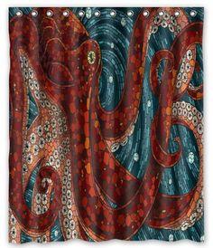 Amazon CafePress Blue Grunge Octopus Shower Curtain