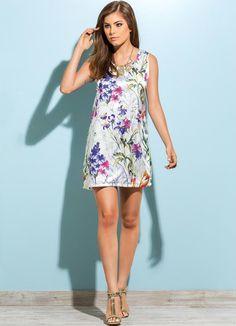 Vestido de Cetim com Estampa Floral