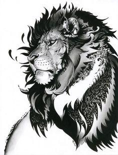 Pen & Ink Lion by Nekoshogun 2012 nekoixa