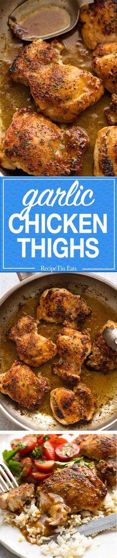 Just 5 ingredients -> Crispy crust, juicy chicken thighs, gorgeous garlic flavour!