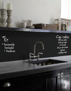 hip memobord op de spatwand van de keuken!
