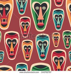 Colorful seamless pattern with funny carnival masks. #vectorpattern #patterndesign #seamlesspattern