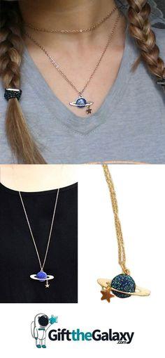 Teacher Gifts – 10 Teacher Gift Ideas – Gift Ideas Anywhere - Trend Jewelry Model 2019 Jewelry Model, Body Jewelry, Jewelry Gifts, Jewellery, Rings Of Saturn, Galaxy Jewelry, Space Jewelry, Cool Necklaces, Jewelry Trends