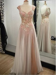 Cute pink tulle long evening dress with beautiful top details, prom dress for teens