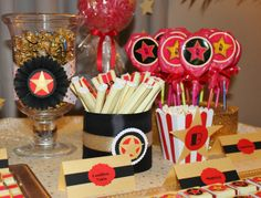 Red Carpet Candy Bar  | CatchMyParty.com