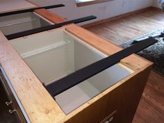 Countertop supports for islands are hidden and simple to install. Made of half inch steel these brackets securely support granite kitchen island overhangs. Kitchen Island Overhang, Diy Kitchen Island, Granite Kitchen, Kitchen Redo, New Kitchen, Kitchen Remodel, Kitchen Ideas, Slate Kitchen, Bungalow Kitchen