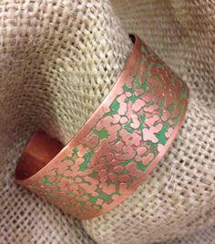 Copper Etched Cuff Bracelet