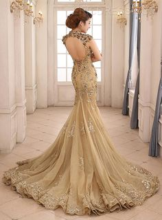 Gorgeous High Neck Appliques Backless Gold Mermaid Evening Gown/Mother of the Bride Dress Mermaid Evening Gown, Mermaid Prom Dresses, Evening Gowns, Dress Prom, Dress Lace, Beautiful Gowns, Formal Dresses, Wedding Dresses, Dresses 2016