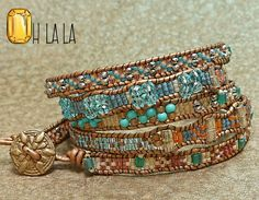 Wrap Bracelet with Crystals and Beads on Copper Leather with Bronze Button