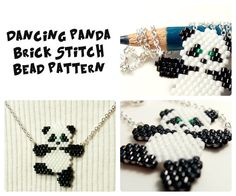 Dancing Panda Brick Stitch Bead Pattern -  Chart & Legend, Delica Seed Beads