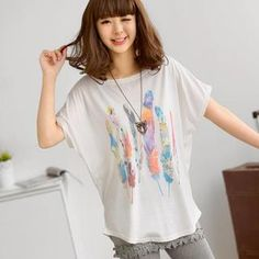 Buy '59 Seconds – Dolman Short-Sleeved Feather Print Top' with Free International Shipping at YesStyle.com. Browse and shop for thousands of Asian fashion items from Hong Kong and more!