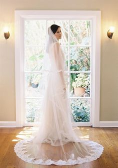 Fit for royalty is this Chapel length blusher veil trimmed with a very grand wide scallop French Alencon lace that graduates to a thin Chic Vintage Brides, Vintage Bridal, Enchanted Bridal, Jenny Packham Wedding Dresses, Wedding Veils, Bridal Veils, Bride Accessories, Bridal Crown, Silk Roses