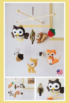 Baby Mobile, Nursery Decor, Woodland Friends Mobile, Forest Animals Mobile…