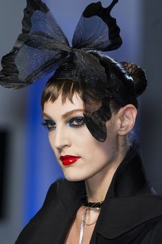 Butterfly headpiece at Jean Paul Gaultier Haute Couture