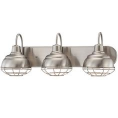 "Industrial Cage 3 Light Vanity Light_Product SKU: BS14003 SN-Price:  $140.00 - (9""Hx24.75""Wx8.25""E) Traditional RLM style vanity light suits both residential and commercial applications. The industrial warehouse style shade is complete with wire guard. This vanity light takes a modern spin on a vintage element. The sleek industrial shape adds a trendy style to bathroom vanities. Cages are removeable. Choose from Satin Nickel or Rubbed Bronze. 3x100 watt medium base lamp required."