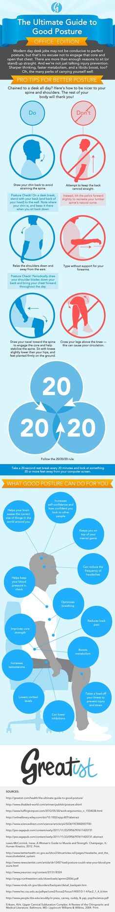 Ultimate Guide to Good Posture at Work [Infographic] #healthy #posture #greatist