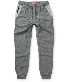 Make sure you look your best when you lounge with the stylish heather charcoal design with two white and grey weatherproof zipper pockets and back right pocket. #men'sjoggerpants #men's #jogger #pants #shoes #outlet
