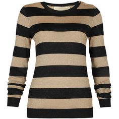 MICHAEL Michael Kors Striped Long Sleeve Crewneck Sweater in Dark... ($165) ❤ liked on Polyvore
