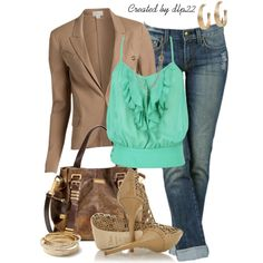 """Green and Beige"" by dlp22 on Polyvore"