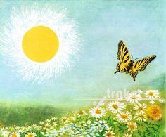 Obraz, rám Zahrada, Motýl a slunce - Jiří Trnka Celestial, Czech Republic, Painting, Outdoor, Posters, Outdoors, Painting Art, Paintings, Poster