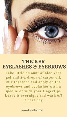 Thicker eyelashes and eyebrows How To Grow Eyelashes, Thicker Eyelashes, Natural Eyelashes, Beauty Tips, Beauty Hacks, Eyelash Growth Serum, Aloe Vera Gel, Castor Oil, Eyebrows