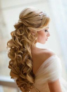 schicke brautfrisur lange haare halboffen wellen blond (How To Make Curls Fast) Wedding Hair Down, Wedding Hair And Makeup, Hair Makeup, Wedding Curls, Wedding Bride, Wedding Ceremony, Makeup Hairstyle, Gold Wedding, Bridal Makeup