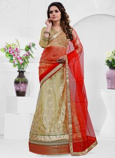 Find lehenga choli latest wedding designs collection. Customization and cod!. Order this phenomenal beige and orange a line lehenga choli.