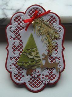 Keywords: TLC403 Easel card Christmas card folded Christmas Tree,Marianne Design,   Accessories: BS- Ribbon-Rhinestones - iron bell-Lr0236-LR0141- swirl LR112-flower LR0128-leaf LR126-Nellie Snellen Floral punches