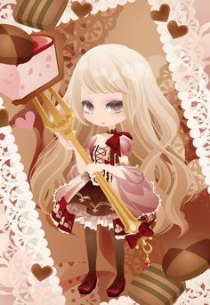 DRINK♥Me cafetime|@games -アットゲームズ- Cocoppa Wallpaper, Kawaii Wallpaper, Chibi Characters, Girls Characters, Female Character Design, Character Drawing, Kawaii Art, Kawaii Anime, Anime Chibi