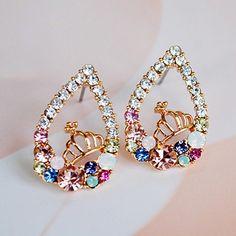 #Pair of multi-colored rhinestoned waterdrop  ad Euro 1.91 in #Jewelry #Moda