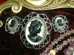 Vintage cameo pin and earrings.  Found at the Old Hotel Market, 441 Main Street, New Market.   952 270 6056