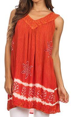 Sakkas 82 - Ruth Sequin Embroidered Batik Relaxed Fit Sleeveless V-Neck Top - Burnt Orange - OS Sakkas http://www.amazon.com/dp/B00XSKIVMS/ref=cm_sw_r_pi_dp_8B0Gvb0AN6WHK
