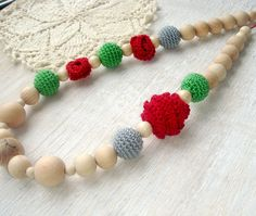 Nursing necklace Rose Red green Oscha Roses by MiracleFromThreads, $29.95