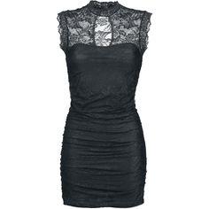 """Esclusiva EMP! Bellissimo abito nero smanicato """"Miriam"""" della collezione Gothicana con parte superiore e colletto in pizzo e scollo sul davanti. lu.: 85 cm circa."""