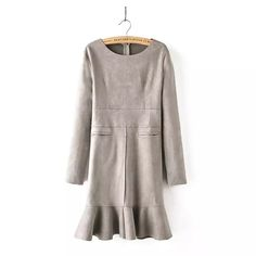 XL167 Autumn Fashion women faux suede leather O-neck khaki back zipper pocket Mermaid mini Dress long sleeve casual brand female