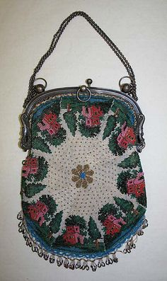 French silver and glass beaded bag with landscaped houses around edges, 1820-30
