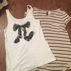 H&M bundle!! 2 tops White cotton tank with black bow printed on front. Listed as size 4. Light light pink shirt with black stripes and pocket on left breast, listed as size 6. Both very soft and comfortable. Perfect with jeans or leggings! Both fit like a medium H&M Tops Tees - Short Sleeve