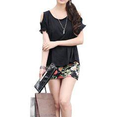 Allegra K Women Scoop Neck Short Sleeves Cut Out Shoulder Casual Blouse Allegra K. $9.88