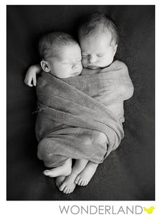 Newborn twins swaddled together. So sweet!