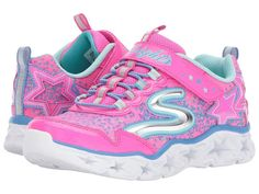 SKECHERS KIDS Galaxy Lights 10920L (Little Kid/Big Kid) Girl's Shoes Neon Pink/Multi