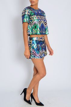 Multi Blue Sequin Co-Ord Top | Rare London