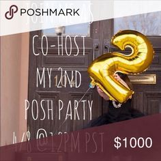 "YAY!! Co-hosting my 2nd Party!! I'm overjoyed and honored to be Co-Hosting my 2nd !!YES!! Posh Party on 4/8 @ 12pm PST.            THEME: TBD I'm looking for ""Posh Compliant"" closets. Especially ones that's never had a host pick!! I'm looking forward to going through all your beautiful closets 😀!   Please help me spread the word 💞🎊☺️ Other"