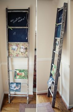 new use for an old ladder....for books, magazines?  Would also be great with bath and hand towels in a guest bathroom.  Kids art display/ drying rack.                                                                            To climb up and reach things at a higher level, lol.