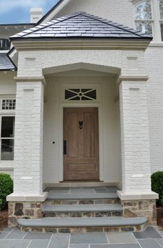 Marvelous Exterior House Porch Ideas with Stone Columns Ideas - Page 12 of 82 Exterior House Colors, Exterior Doors, Exterior Paint, Exterior Design, Exterior Remodel, House With Porch, House Front, Front Porch, Painted Brick Exteriors