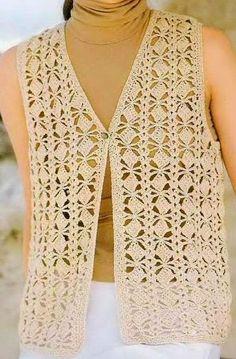 Chaleco puntada Cuadritos a Crochet Cardigan Au Crochet, Crochet Jacket Pattern, Black Crochet Dress, Bolero Pattern, Crochet Cardigan, Crochet Shawl, Crochet Cord, Crochet Fabric, Crochet Lace