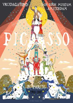Picasso in Paris, poster commissioned by Unfold Amsterdam and the Van Gogh Museum, as part of a fold out poster / programme to accompany the Picasso exhibition and Friday night events at the Van Gogh museum.