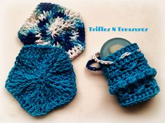 Textured Scrubbies & Soap Saver Pouch~Free Crochet Pattern