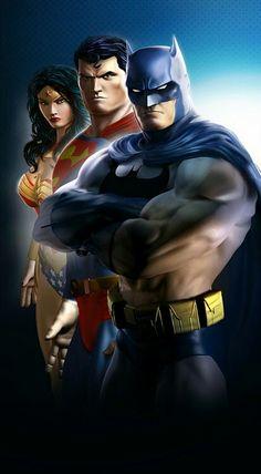 The big three Arte Dc Comics, Dc Comics Superheroes, Dc Comics Characters, Mundo Superman, Batman Vs Superman, Geeks, Dc Universe Online, Comics Universe, Dc Trinity