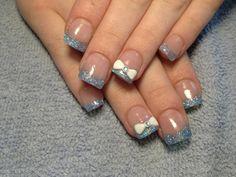 Cinderella princess Disney blue acrylic nails nail art bow glitter